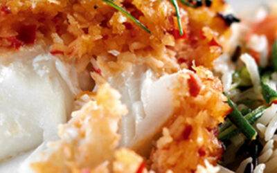 Bacalhau do Alasca com coco,chillie crosta delimão
